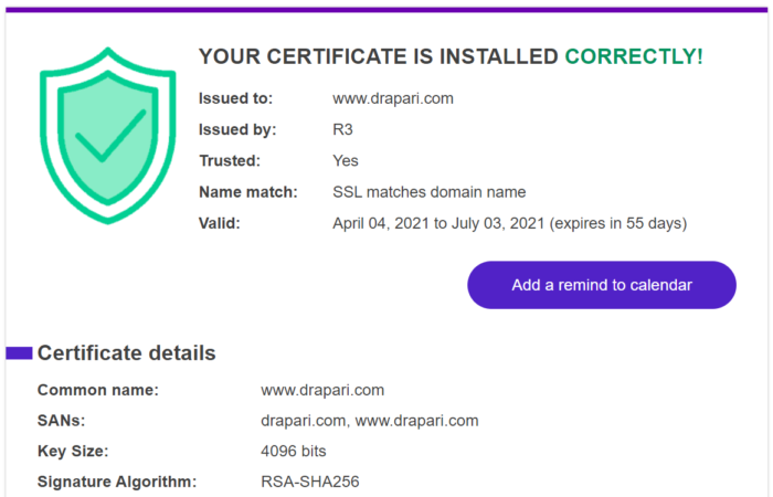 Check if your SSL certificate is installed properly & trusted by browsers